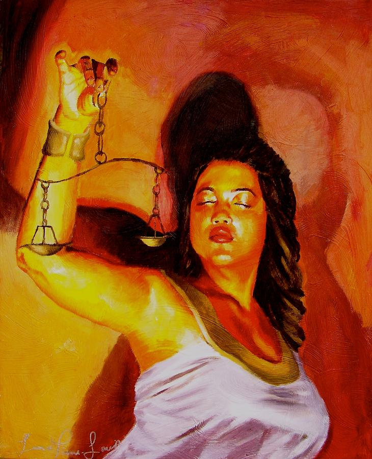 Law Painting - Latina Lady Justice by Laura Pierre-Louis