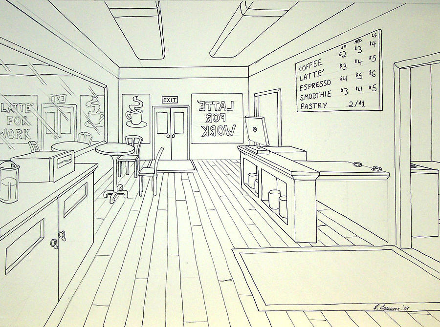 Linear Drawing - Latte For Work by Heidi Copeman