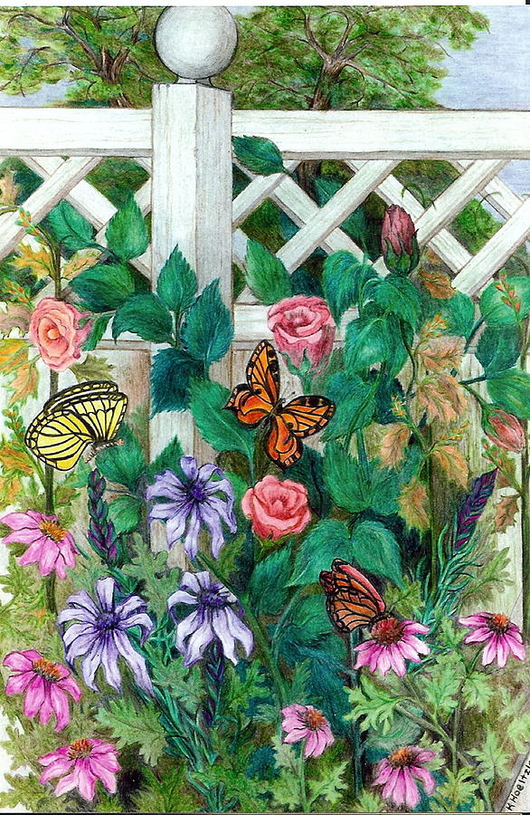 Garden Drawing - Lattice Garden by Karolann Hoeltzle