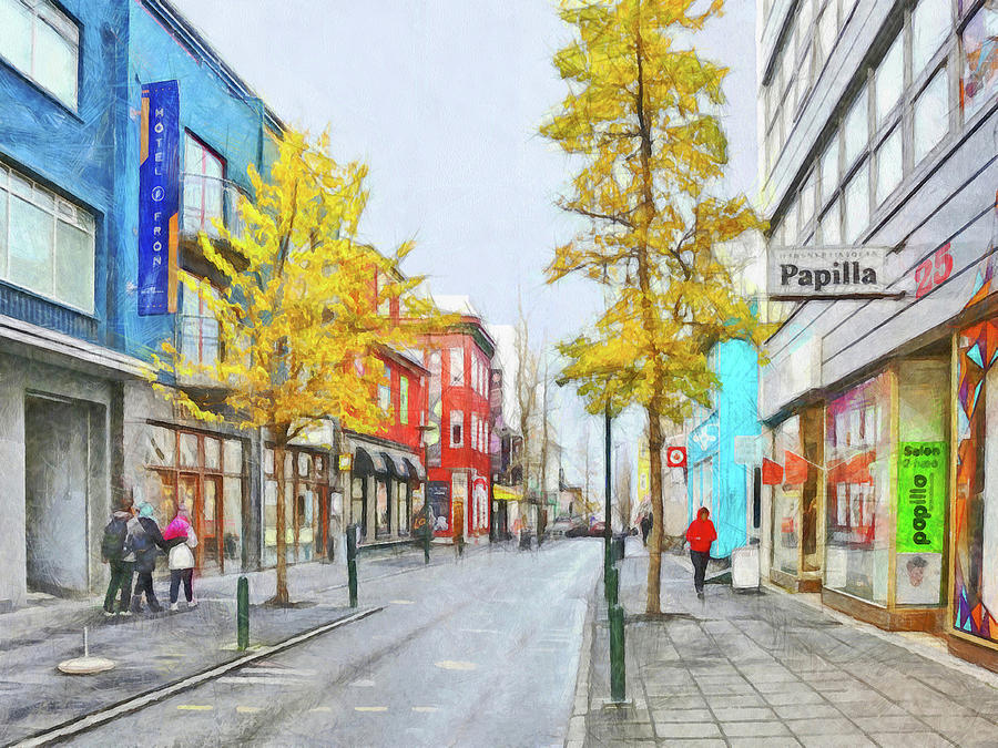 Laugavegur Street in Downtown Reykjavik by Digital Photographic Arts