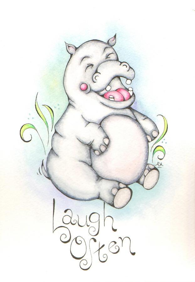 Hippo Mixed Media - Laugh Often by Adrienne Allen