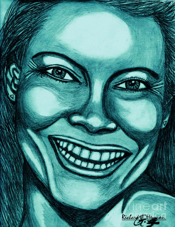 Female Painting - Laughing Girl In Blue 2 by Richard Heyman