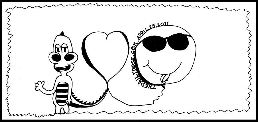 Smiley Drawing - Laughzilla Loves Smileys by Yasha Harari