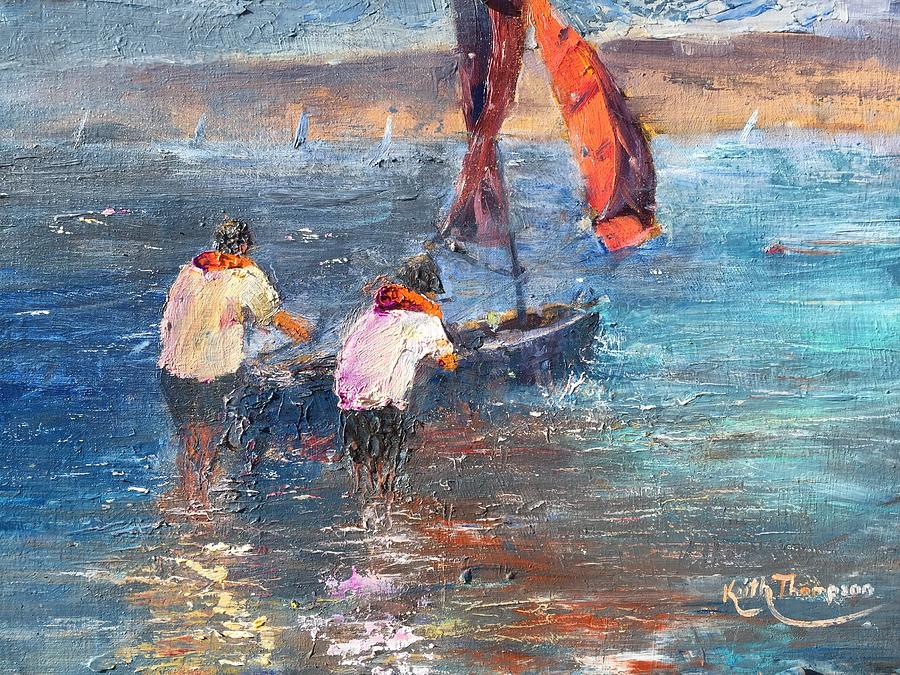 Launching the Dinghy, Dungarvan by Keith Thompson