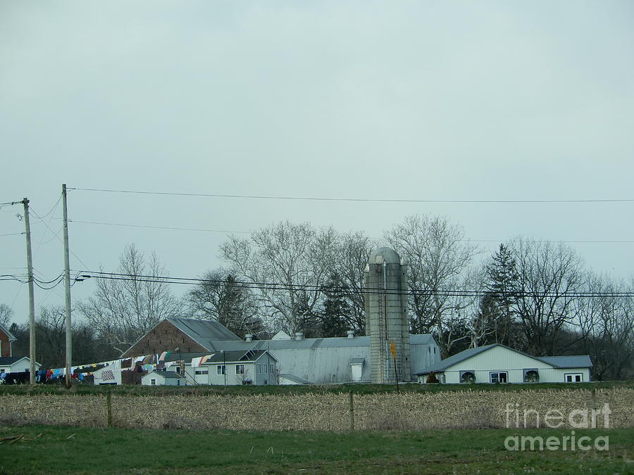 Amish Photograph - Laundry Day At The Dairy Farm by Christine Clark