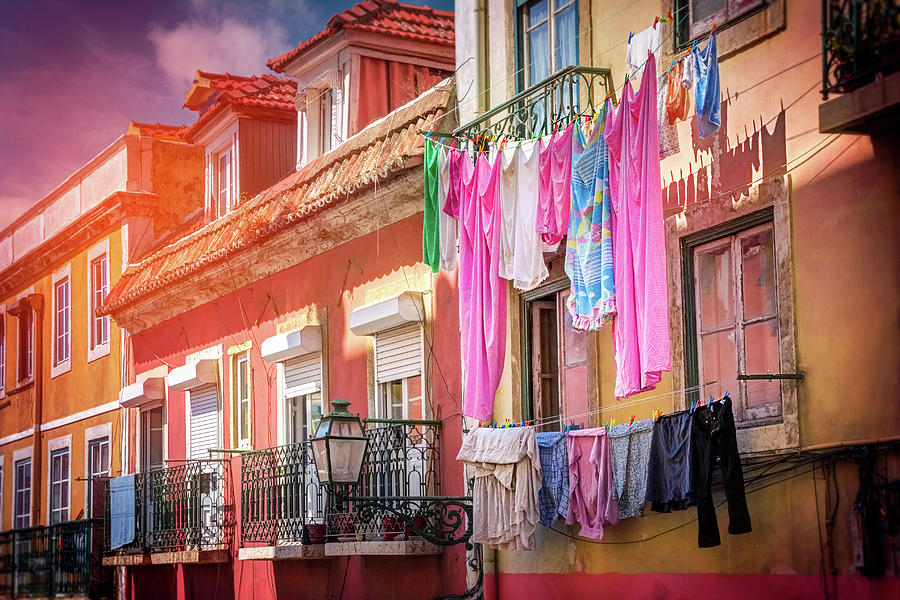 Laundry Day in Lisbon Portugal  by Carol Japp
