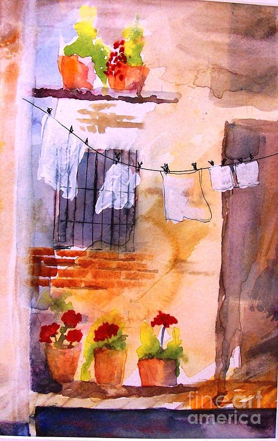 Laundry Day Painting by Sandi Stonebraker