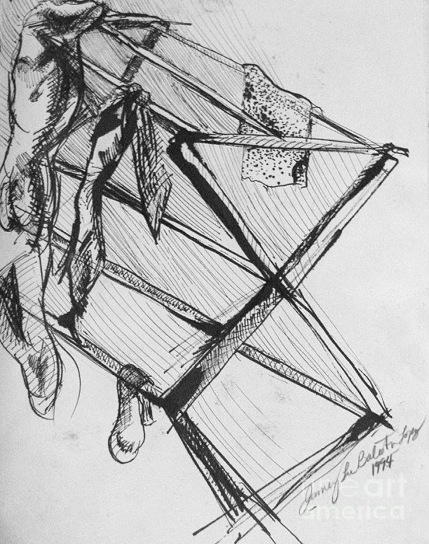 Ink Drawing - Laundry by Jamey Balester