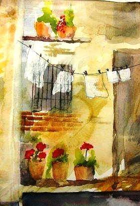Italy Painting - Laundry by Sandi Stonebraker