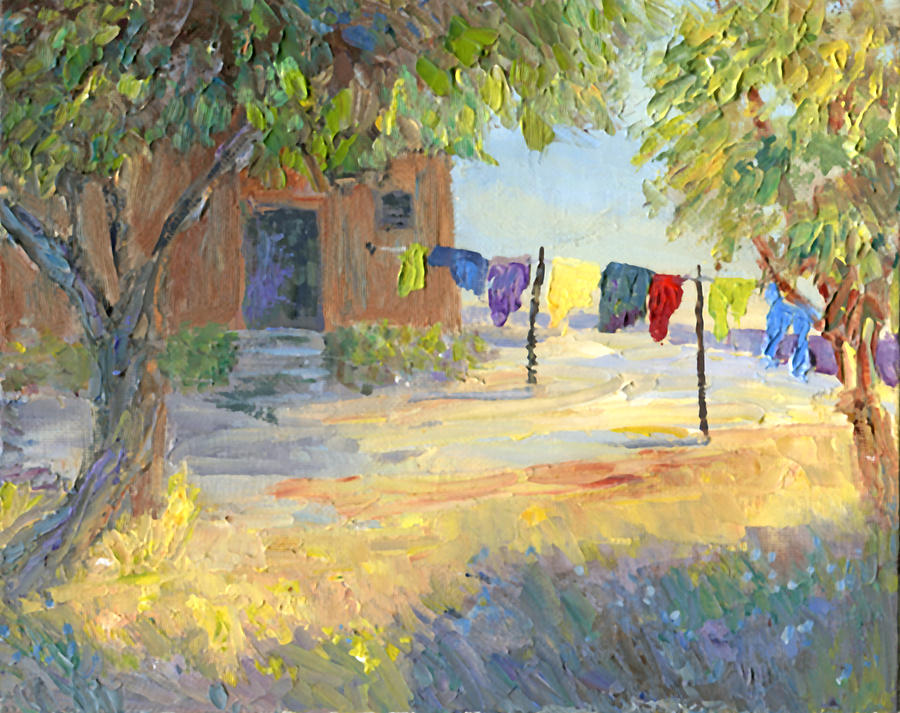 Impressionism Painting - Laundry Yard by June Hunt