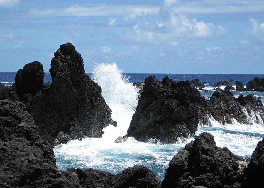Ocean Photograph - Laupahoehoe Rocky Coast by Kerri Ligatich