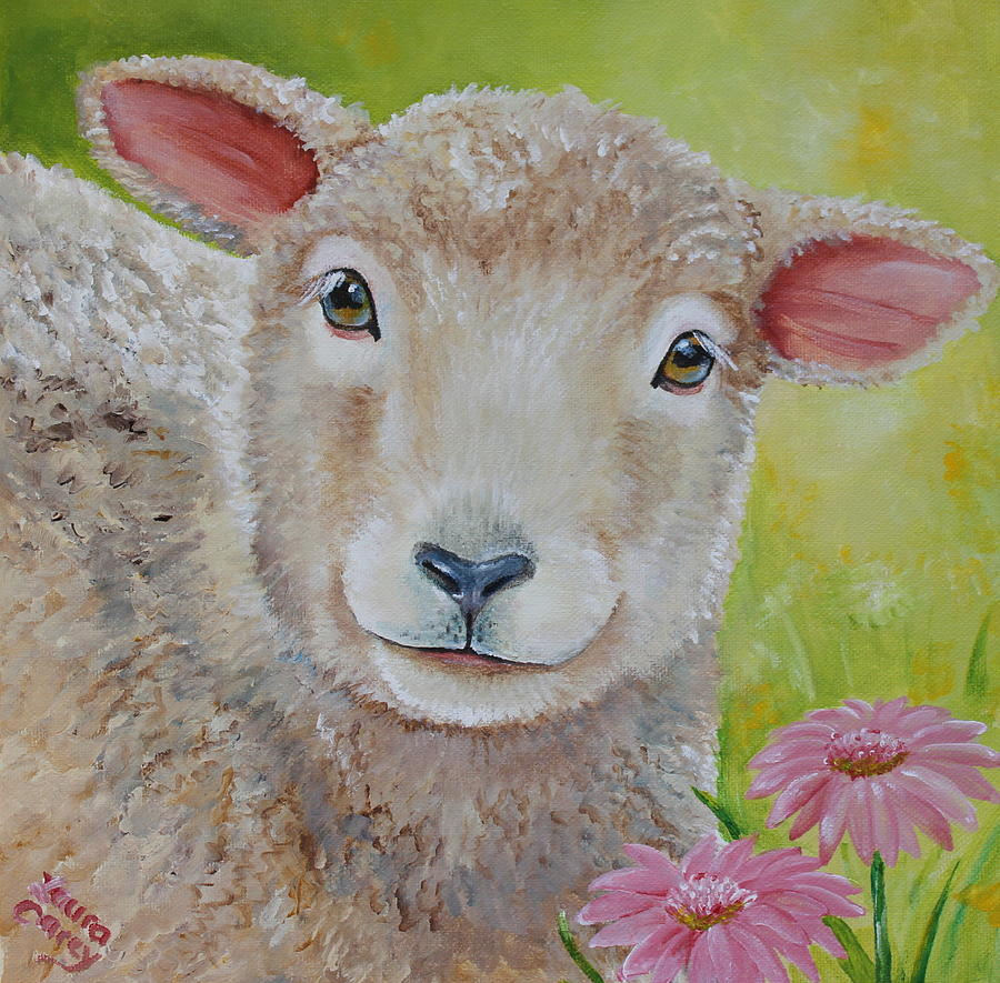 Sheep Painting - Lauralye by Laura Carey