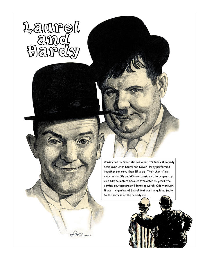 Laurel And Hardy Drawing by Harold Shull – Laurel and Hardy Birthday Cards