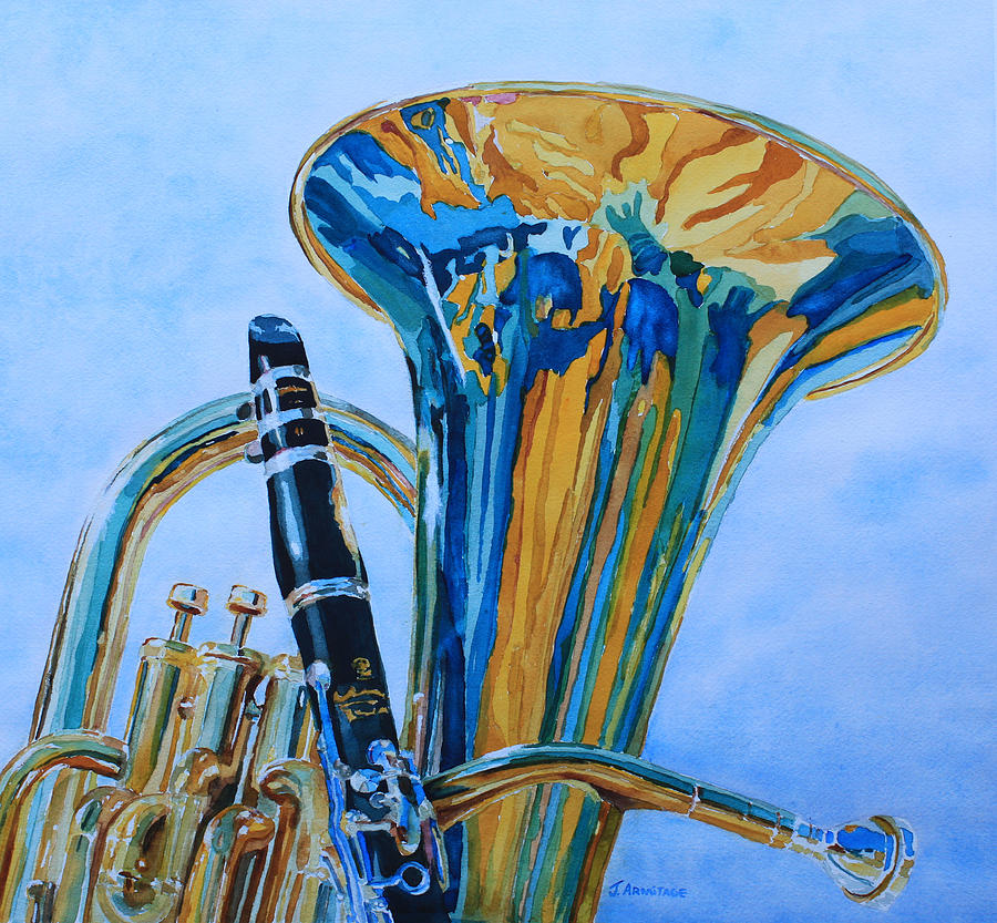 Euphonium Painting - Laurel And Hardy by Jenny Armitage