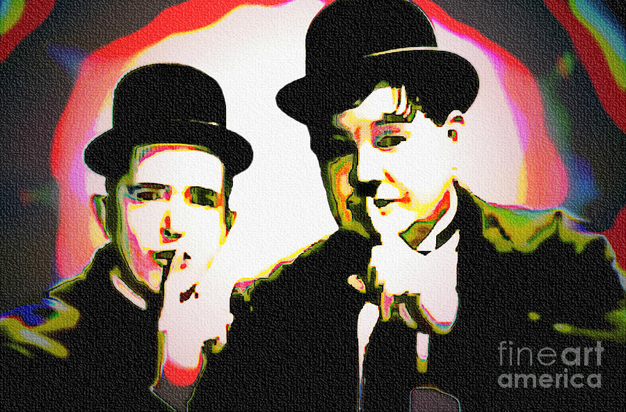 Laurel And Hardy Pop Art Painting by Ian Gledhill – Laurel and Hardy Birthday Cards
