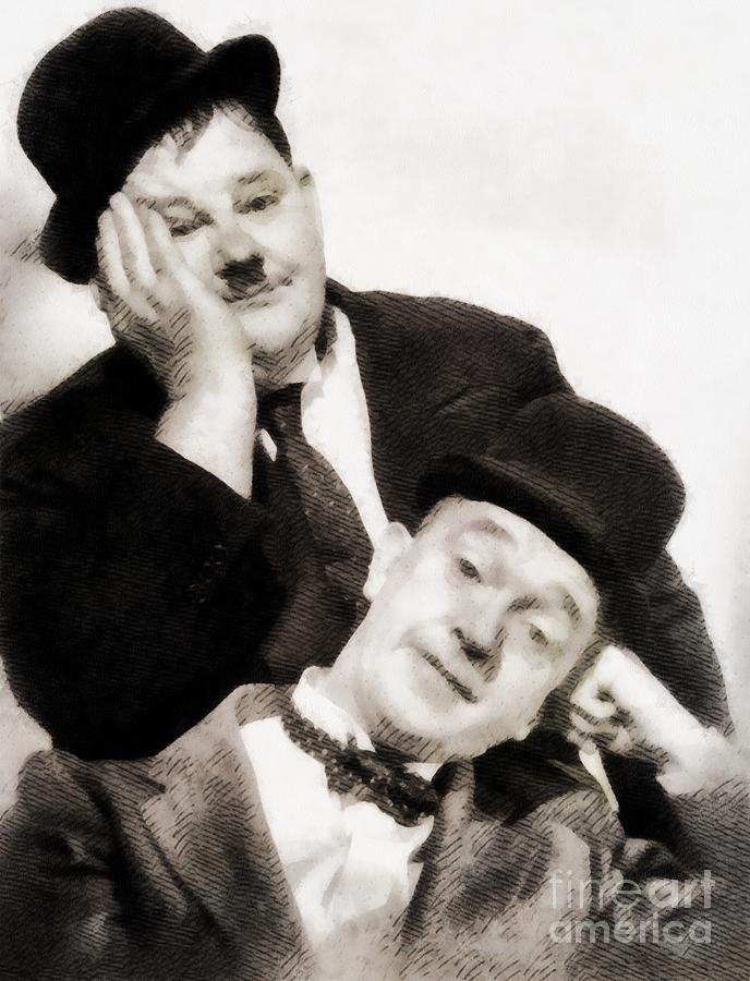 Hollywood Painting - Laurel And Hardy, Vintage Comedians by John Springfield