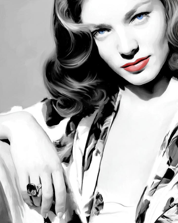Lauren Bacall Large Size Portrait 2 by Gabriel T Toro