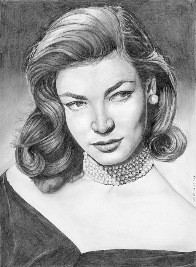 Actress Drawing - Lauren Bacall by Rob De Vries
