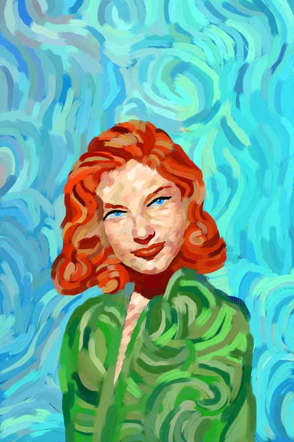 lauren bacall 39 s portrait van gogh style painting by