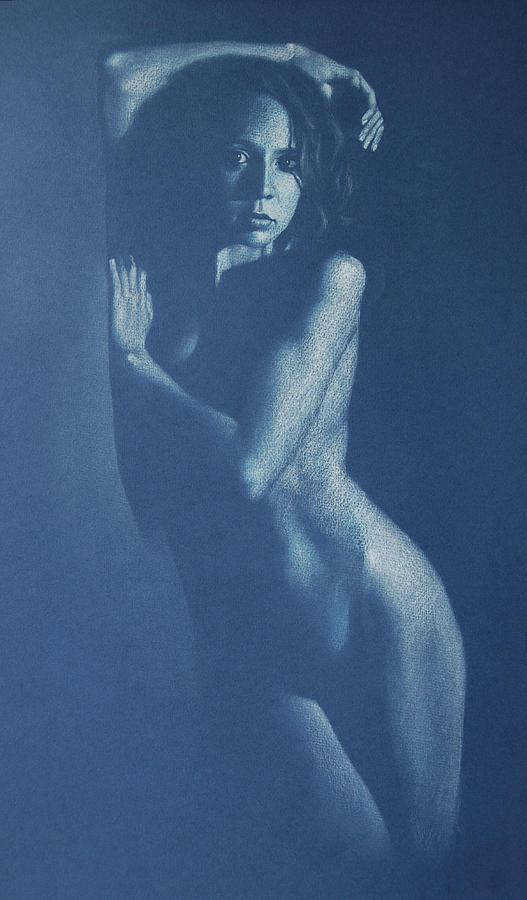 Nude Drawing - Lauren In Blue by Alan Stevens