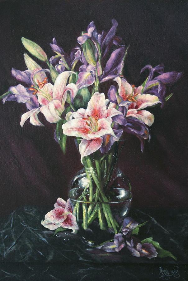 Floral Still Life Painting - Laurette Lillies by Michelle Kerr