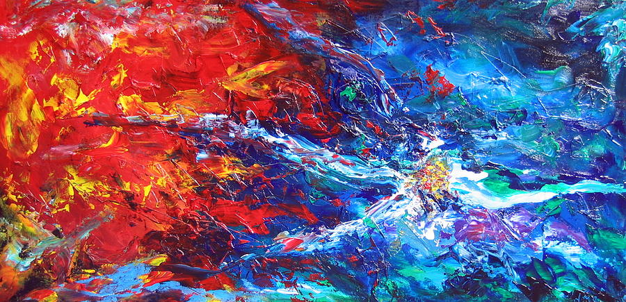 Abstract Painting - Lava And Sea by Nathalie Morin Rousseau