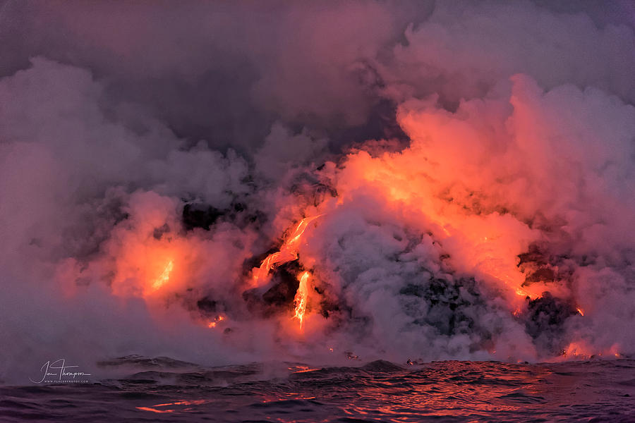 Hawaii Photograph - Lava Flowing Into the Ocean 16 by Jim Thompson
