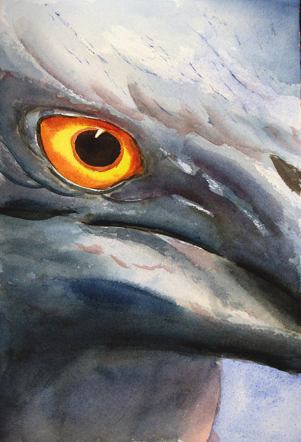 Heron Painting - Lava Heron Eye by Libby  Cagle