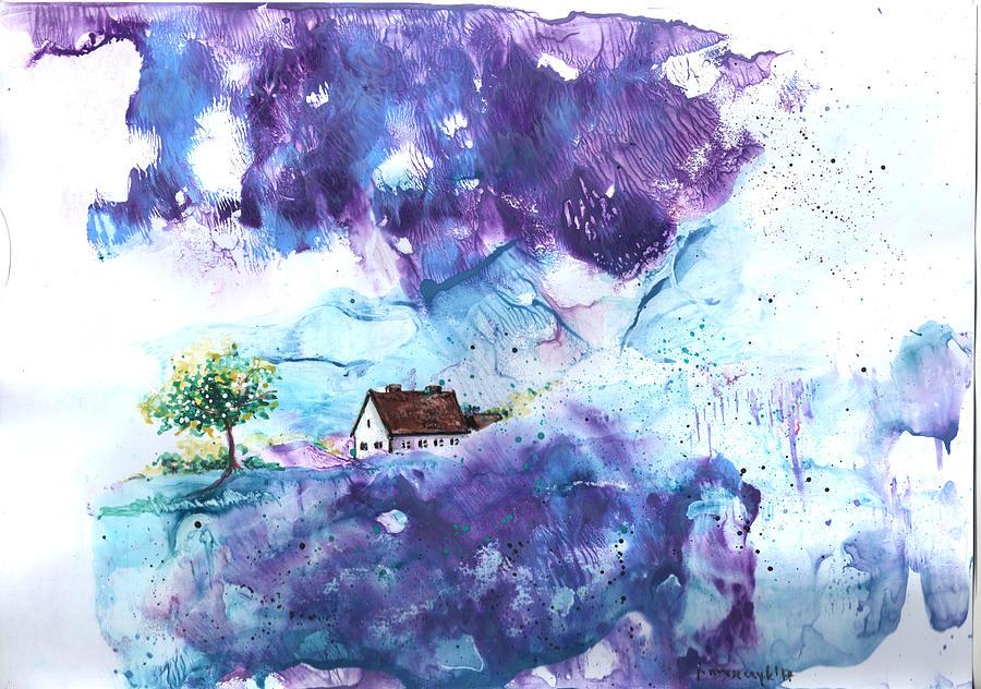 Original Painting - Lavendar Fields by Jola Mroszczyk