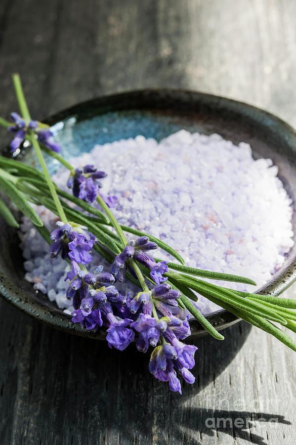 Bath Salts Photograph - Lavender Bath Salts In Dish by Elena Elisseeva