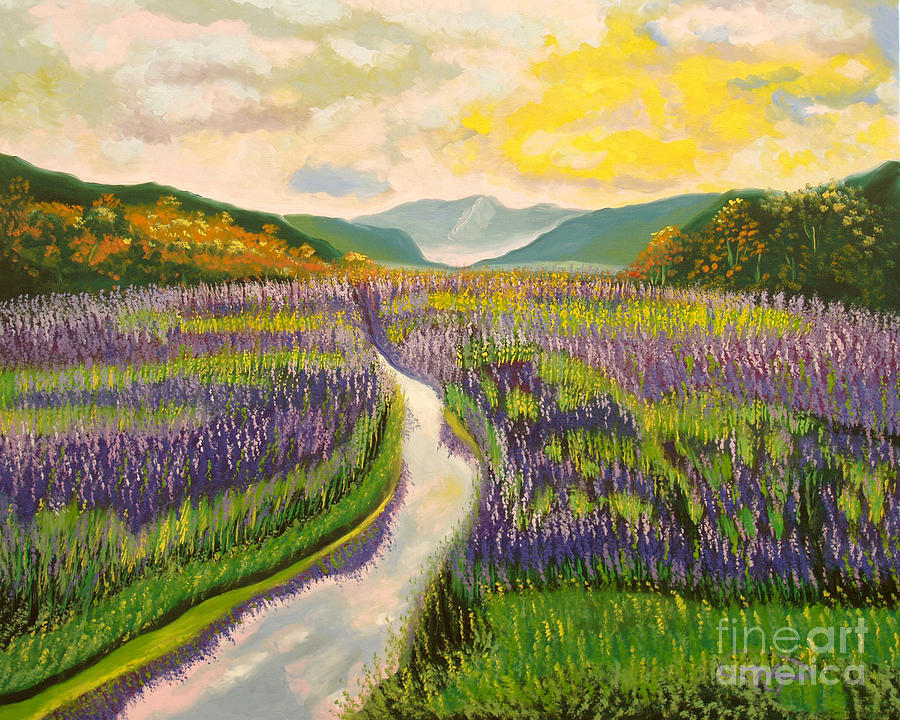 Landscapes Painting - Lavender Brook by Milagros Palmieri