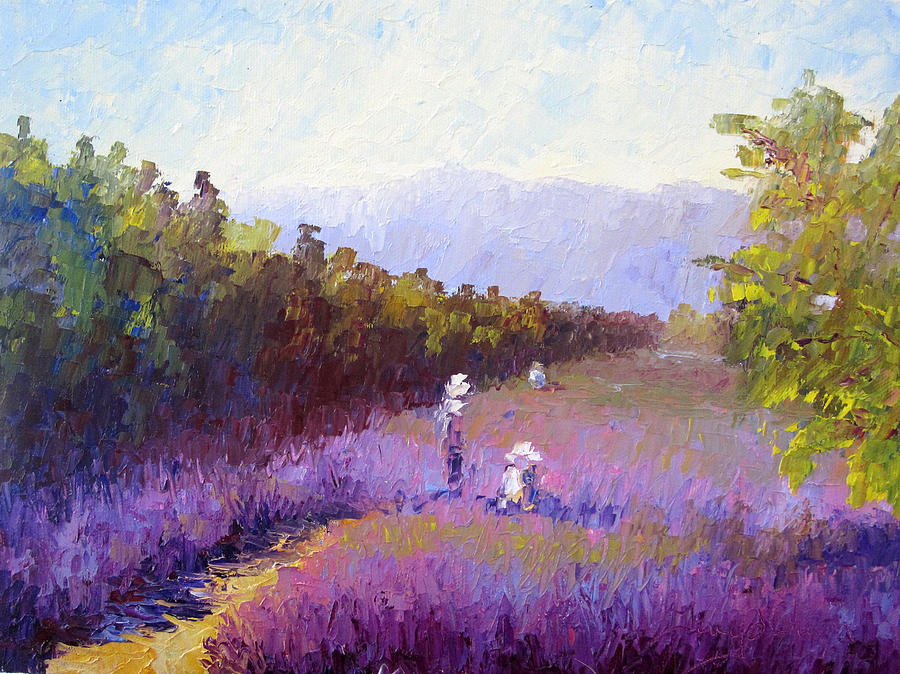 Lavender Painting - Lavender Fields by Terry  Chacon
