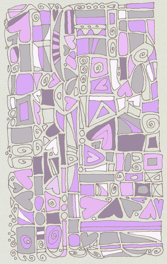 Hearts Drawing - Lavender Hearts by Linda Kay Thomas