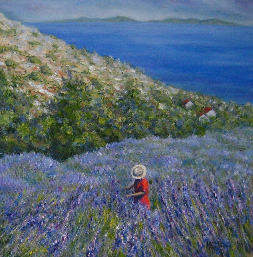 Landscape Painting - Lavender In Full  Bloom by Mirjana Gotovac