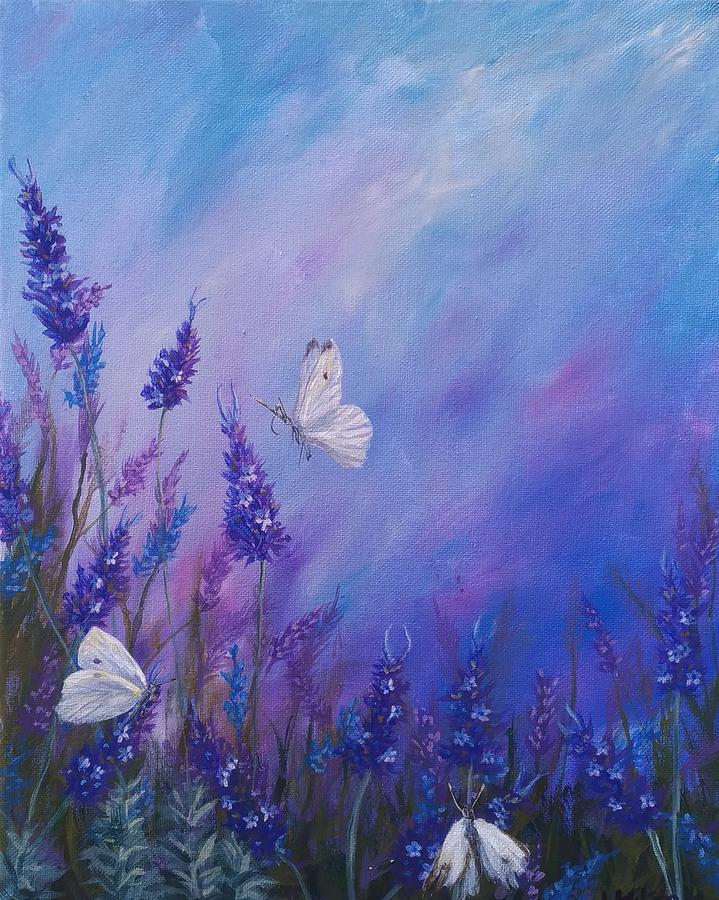 Lavender Painting - Lavender in Summer by Laura Wilson