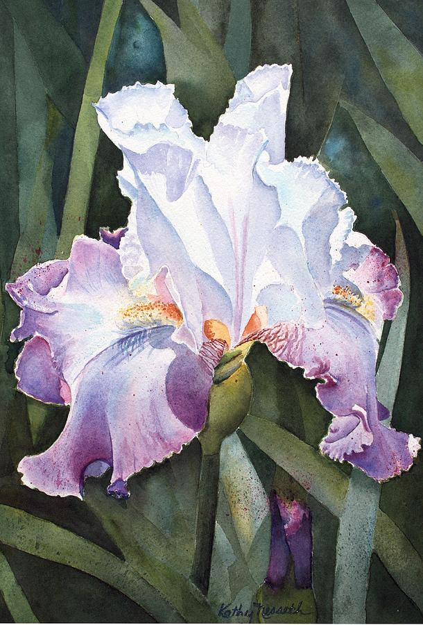 Iris Painting - Lavender Light by Kathy Nesseth