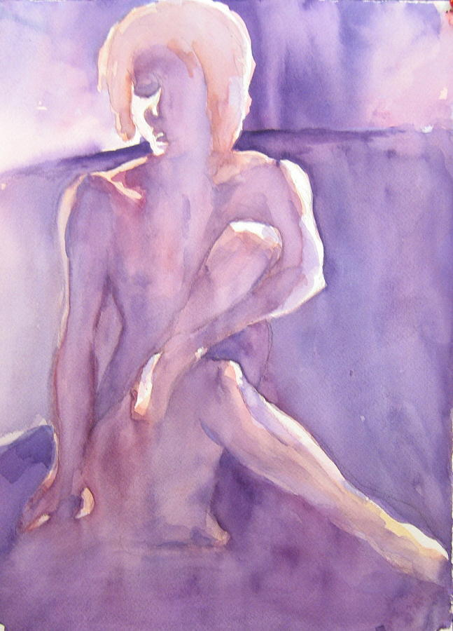 Nude Female Sitting Painting - Lavender Nude by Ken Daugherty