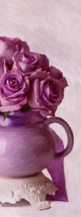 Rose Photograph - Lavender Roses And Tea Pot by Sandra Foster