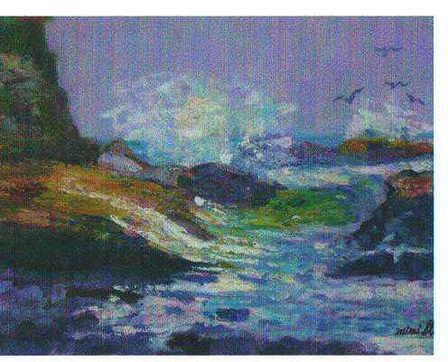 Lavender Seascape Painting by Martha Sterling Stroman