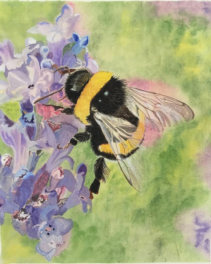 Lavender Painting - Lavender Visitor by Sonja Jones