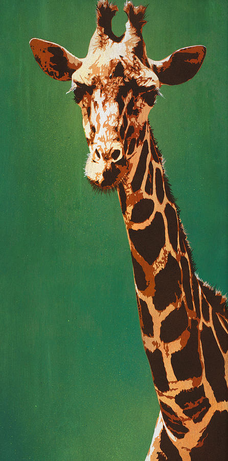 Giraffe Painting - Lavish Lashes And Long Larynx by Tai Taeoalii