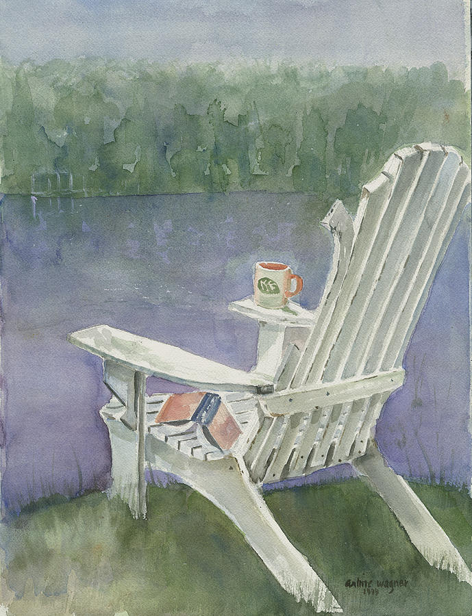 Chair Painting - Lawn Chair By The Lake by Arline Wagner