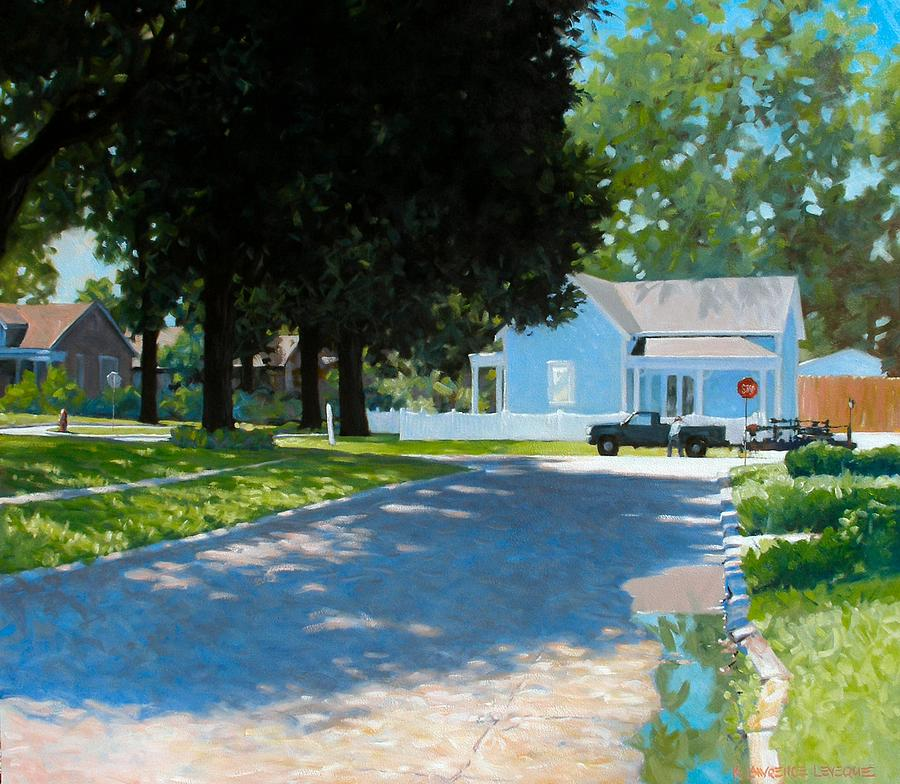Street Scene Painting - Lawn Man by Kevin Lawrence Leveque