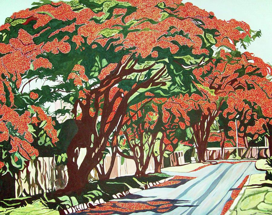 Lawson Avenue Flamboyants Painting by Valentine Magutsa