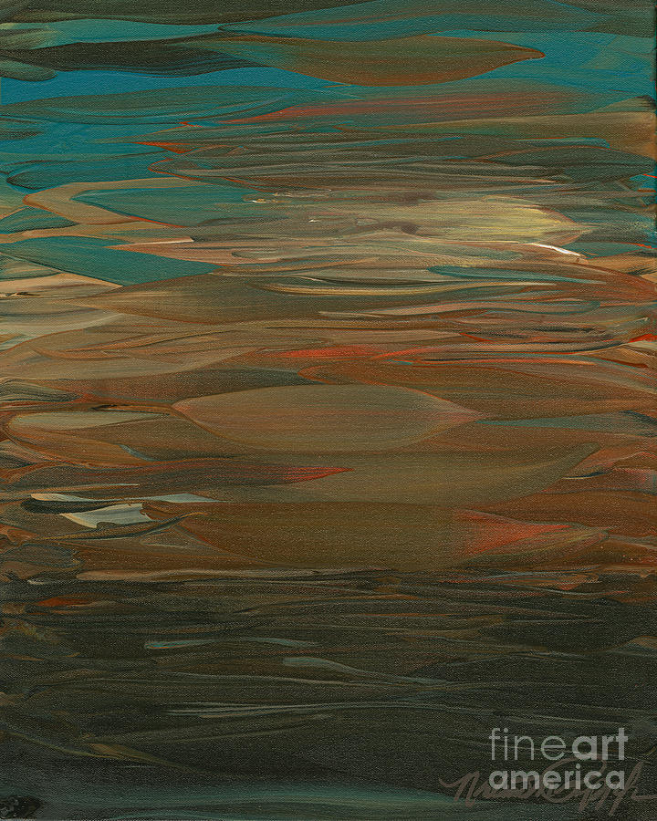 Sunset Painting - Layered Teal Sunset by Nadine Rippelmeyer