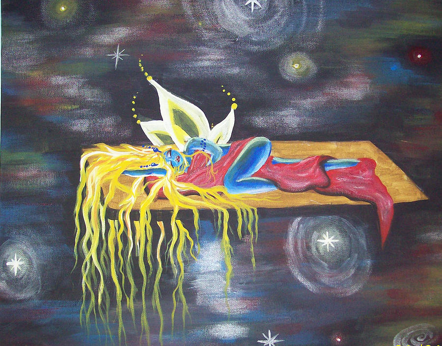 Fairy Painting - Laying  In Space by Hollie Leffel