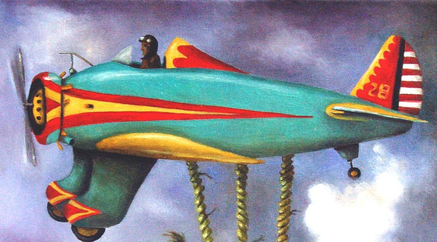 Peashooter Painting - Lazy Bird Plane Detail by Leah Saulnier The Painting Maniac