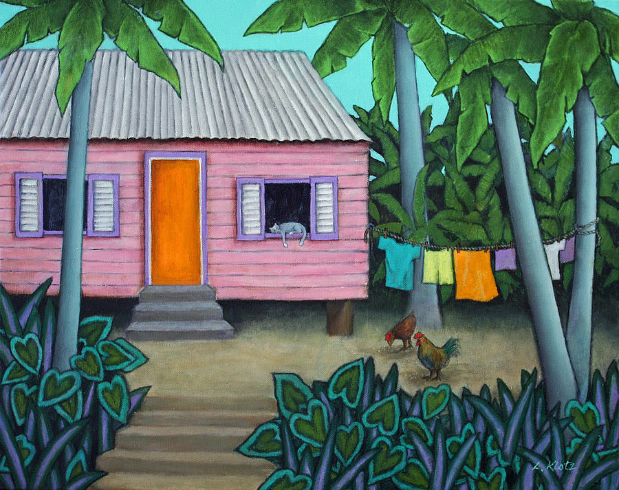 Caribbean House Painting - Lazy Day In The Caribbean by Lorraine Klotz
