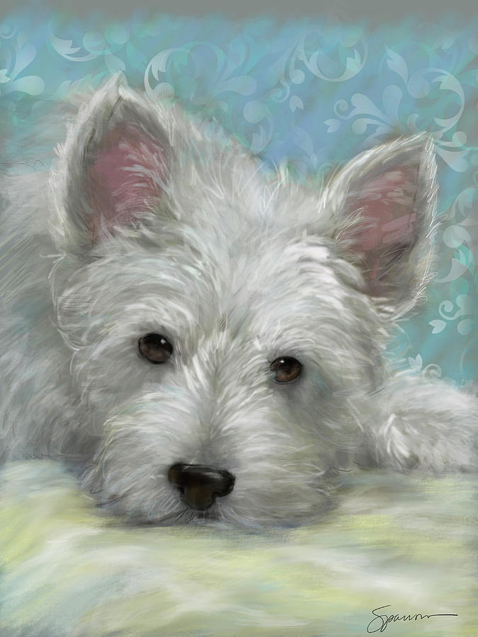 Westie Painting - Lazy Day by Mary Sparrow
