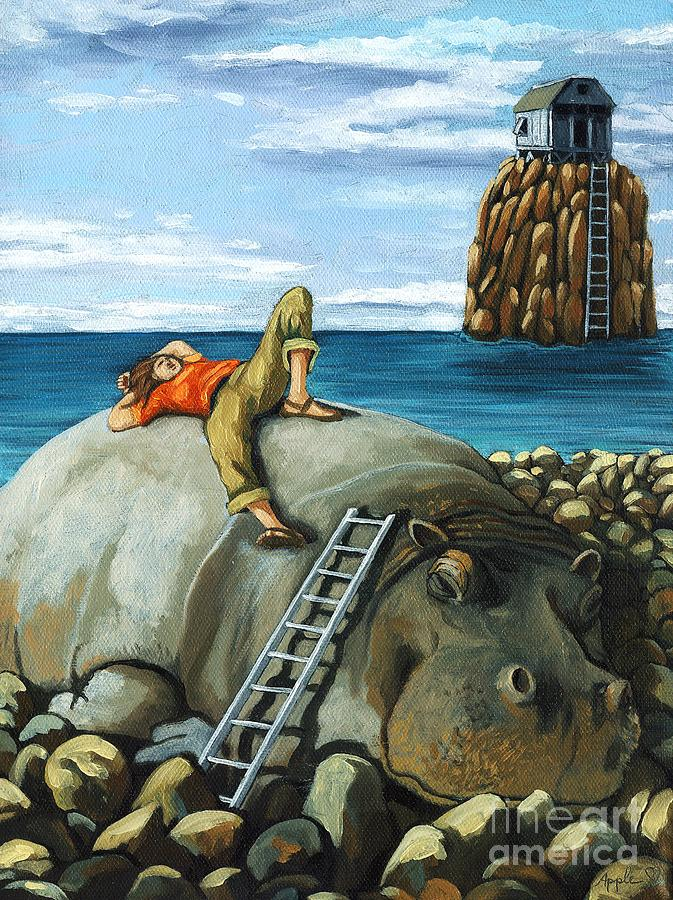 Surreal Painting - Lazy Days - Surreal Fantasy by Linda Apple
